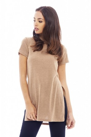 Women's Polo Neck Knitted Camel Sweater
