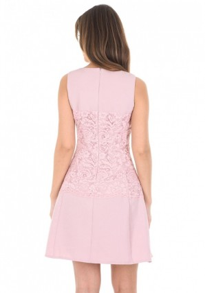 Women's Pink Lace Waist Skater Dress