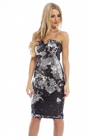Women's Two Colour Way Sequin Strapless Notch Silver Dress