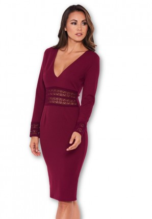 Women's Plum Crochet Detail Bodycon Midi Dress