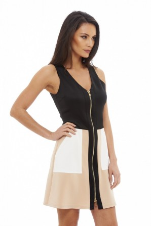 Women's Colour Block Zip Front Black Nude Dress