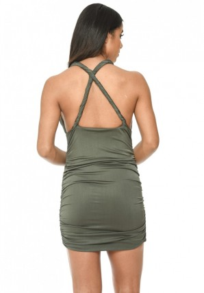 Women's Khaki Cross Back Rouched Bodycon