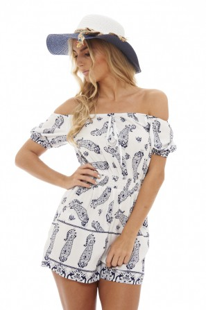 Women's Bardot Printed  Cream Romper