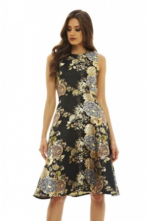 Women's 2 in 1 Metallic Floral Skater  Black Dress