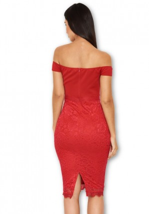 Women's Red Notch Front Lace Detail Midi Dress
