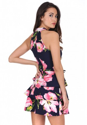 Women's Navy Floral Print Tiered Mini Dress