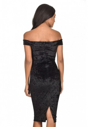 Women's Black Velvet Off The Shoulder Bardot Dress