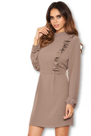 Women's Pewter High Neck Ruffle Dress