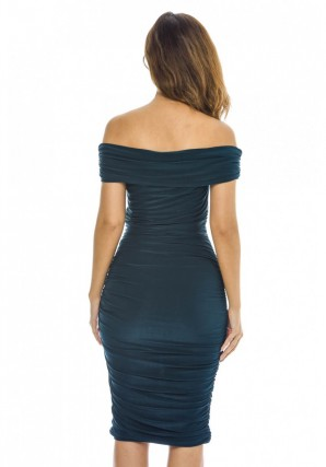 Women's Off Shoulder Ruched  Teal Dress