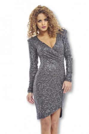 Women's Long Sleeve Wrap Front Sequin Coveredgrey Bodycon