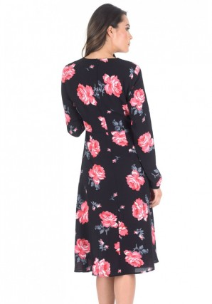 Women's Black Floral Floaty Dress with Tie Detail