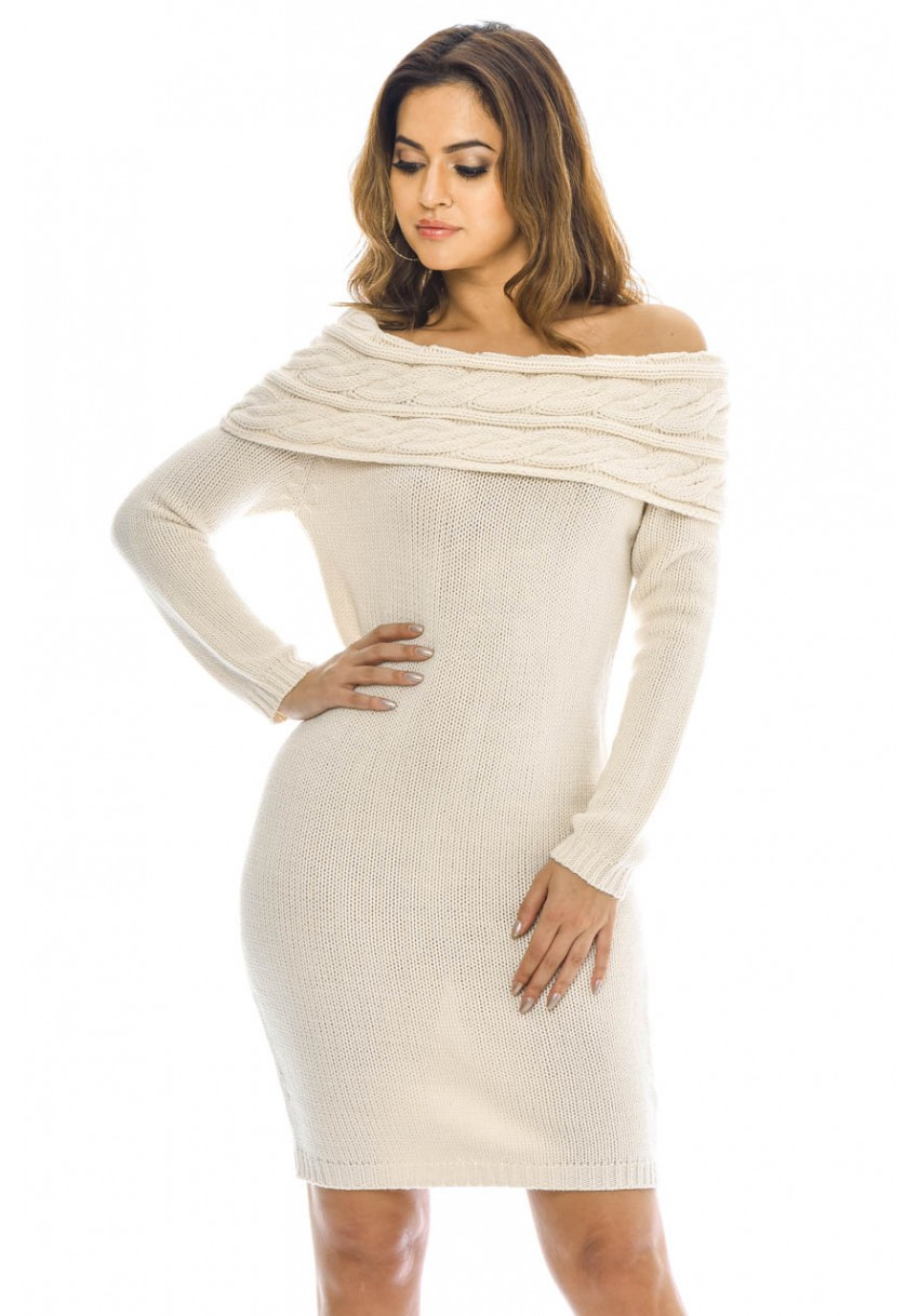 Women s Off The Shoulder Knitted Sweater Cream Dress - AX Paris USA ... edf8a2086649