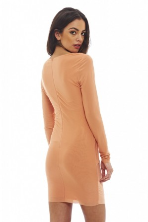 Women's V Front Slinky Ruched  Peach Dress