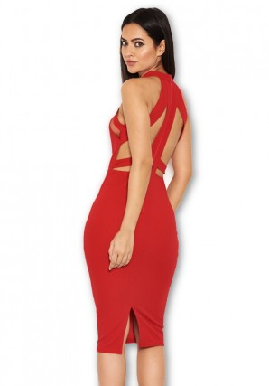 Women's Red Mesh Detail Bodycon Dress