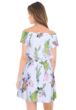 Women's Cream Off The Shoulder Printed Dress