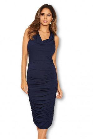 Women's Navy Cowl Neck Ruched Side Bodycon Midi Dress