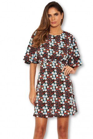 Women's Red Floral Wide Sleeve Skater Dress