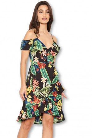 Women's Tropical Strappy Frill Wrap Dress