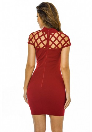 Women's Cage Detail Mini Bodycon  Wine Dress