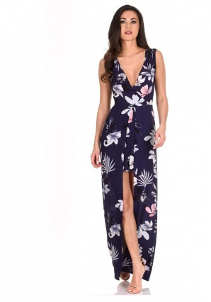 Women's Navy Floral Print Wrap Skirt Romper