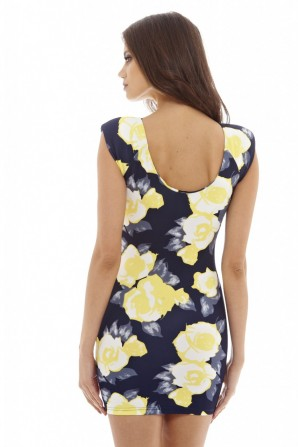 Women's Printed Floral  Mini  Navy Dress