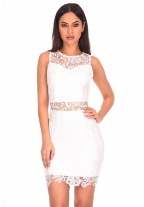Women's White Crochet Embroidered Midi Dress