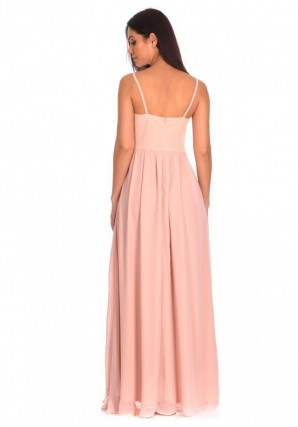 Women's Nude Crochet Top Maxi Dress