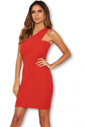 Women's Red One Shoulder Cut Out Bodycon Dress