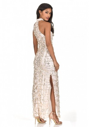Women's Champagne Cut In Neck Sequin Maxi Dress