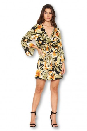 Women's Tropical Knot Front Day Dress