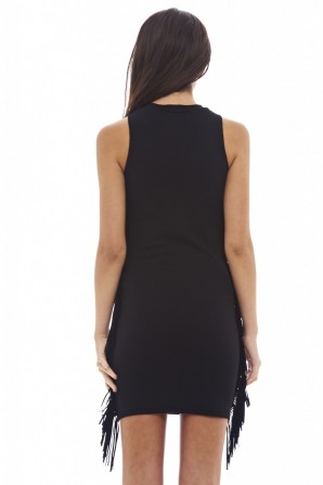Women's Black Bodycon With Tassels