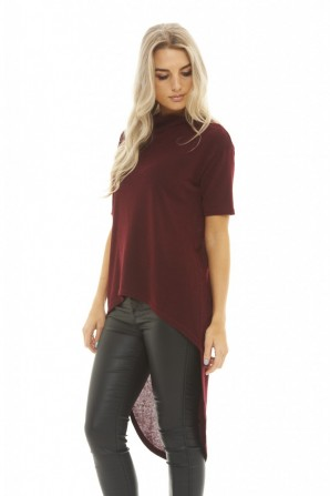 Women's Knitted Dipped Hem  Wine Top