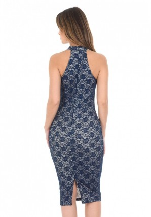 Women's Navy Strappy Bodycon Lace Dress With Nude Underlay