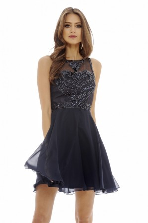 Women's  Embellished Chiffon Skater  Navy Dress