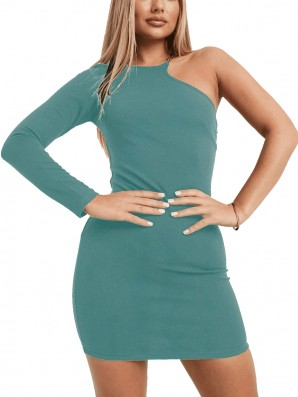 Women's One Shoulder Duckegg Dress With Gold Detail