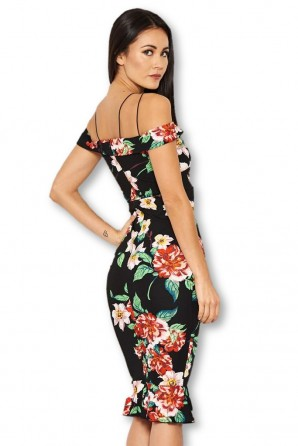 Women's Floral Black Off The Shoulder Midi Dress