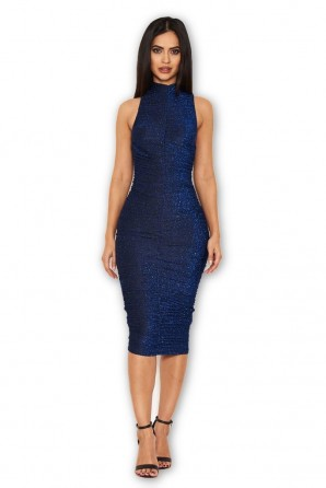 Women's Blue Ruched Midi Dress With High Neck