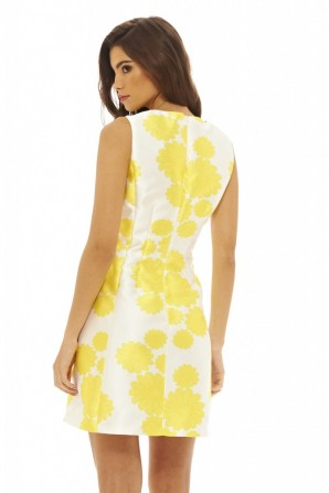 Women's Bright Floral Print Skater  Yellow Dress