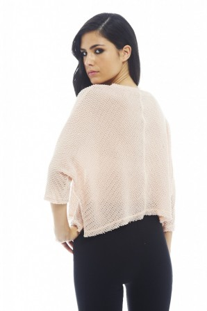 Women's Knitted Plain Top In Baby Pink