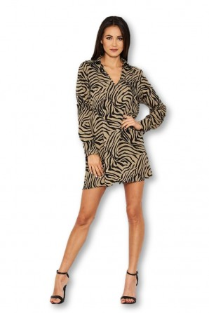 Women's Khaki Animal Print Shirt Dress