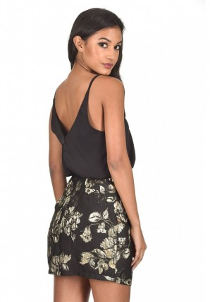 Women's Black And Gold Embroidery Dress