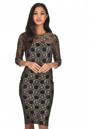 Women's Black And Gold Lace Bodycon Dress