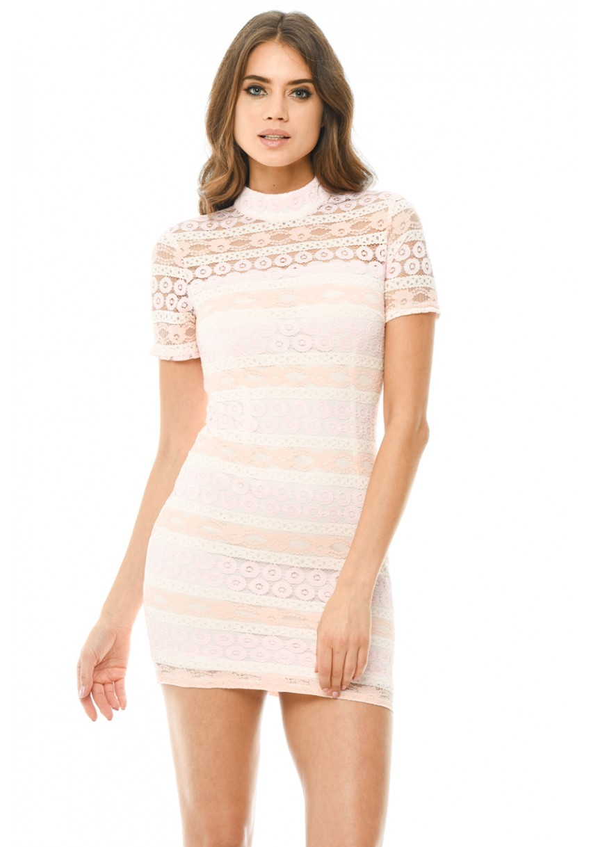 4e1bef8b4 Women s Pink Crochet Mini Dress with Striped Detail - AX Paris USA ...