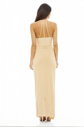 Women's Ruched Slinky Maxi  Nude Dress