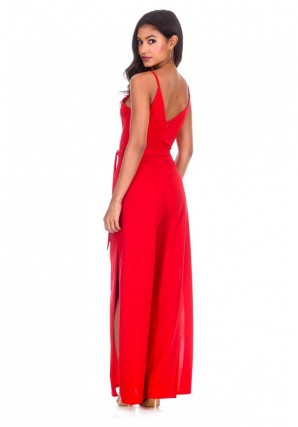 Women's Red Wide Leg Thigh Split Jumpsuit