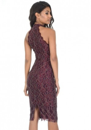 Women's Lace Plum Midi Dress