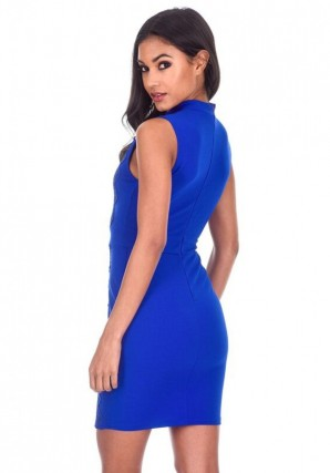 Women's Blue Sleevless High Neck Crochet Detail Dress