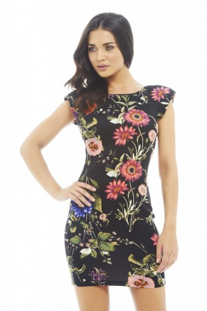 Shoulder Pad Floral Printed Black Bodycon
