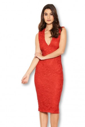 Women's Red Midi Dress With Lace Contrast Front