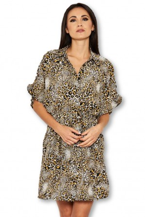 Women's Animal Print Shirt Dress